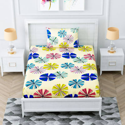 Colorful Single Bed Bedsheet with Dandelion Print