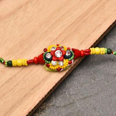 Colorful Stone Studded Beaded Rakhi
