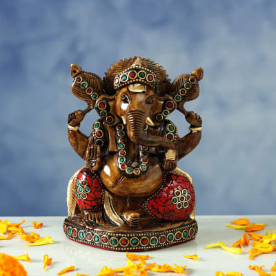 Colorful Stone Work Ganesha