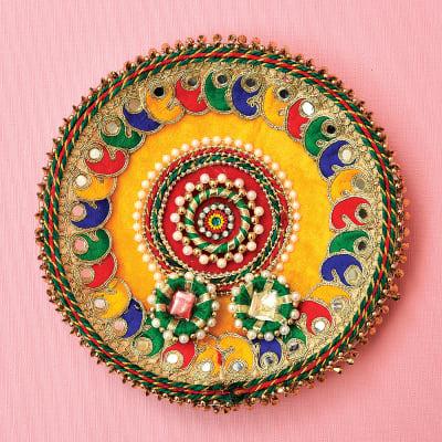 Colorful Zari Work Puja Thali