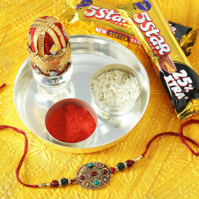 Colourful Beads Rakhi with 5-Star Chocolates & Silver Plated Puja Thali