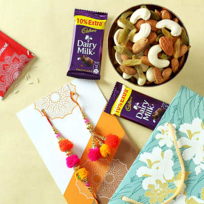 Colourful Bhaiya Bhabhi Rakhi with Dry Fruits & Chocolates