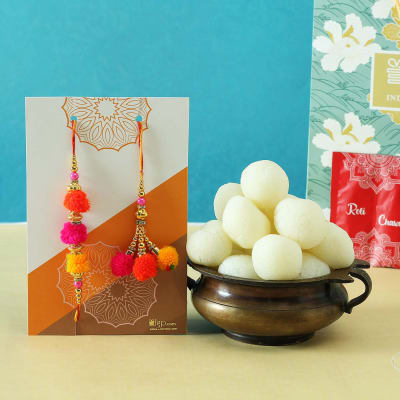Colourful Bhaiya Bhabhi Rakhi with Rasgulla