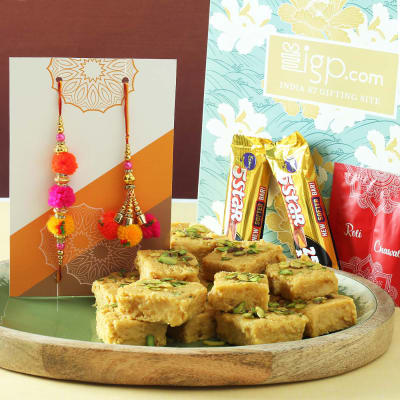 Colourful Bhaiya Bhabhi Rakhi with Soan Papdi & Chocolates