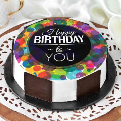 Colourful Birthday Wishes Cake (Eggless) (Half Kg)