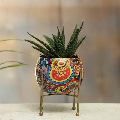 Colourful Metal Planter without Plant