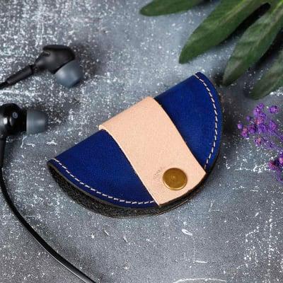Compact Leather Earphones Case