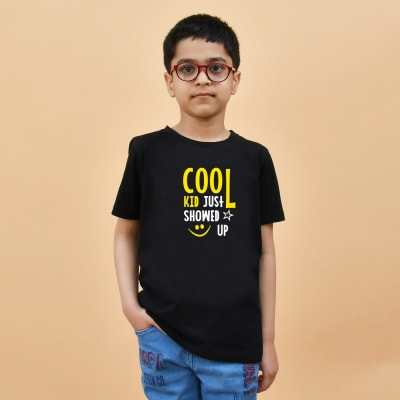 Cool Kid Just Showed Up Black T-Shirt for Boys