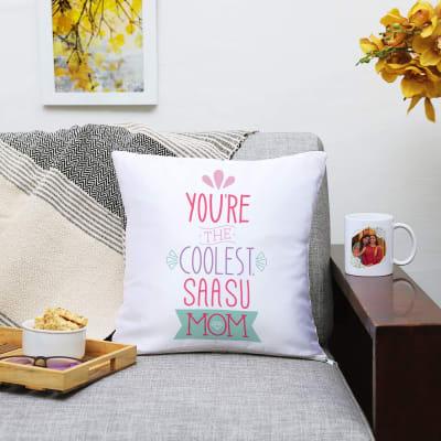 Coolest Saasu Mom Personalized Cushion and Mug