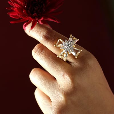 Cosmic Star Gold-plated Ring with Monalisa Stone
