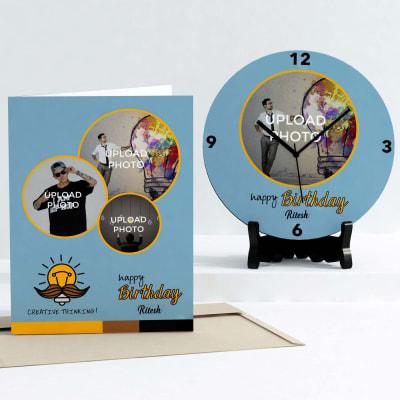 Creative thinking Personalized Birthday Clock & Card combo