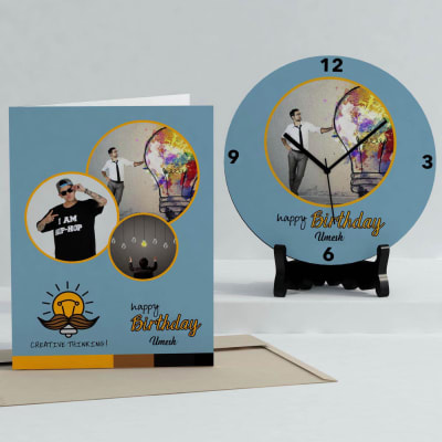 Creative Thinking Personalized Birthday Clock & Card Combo