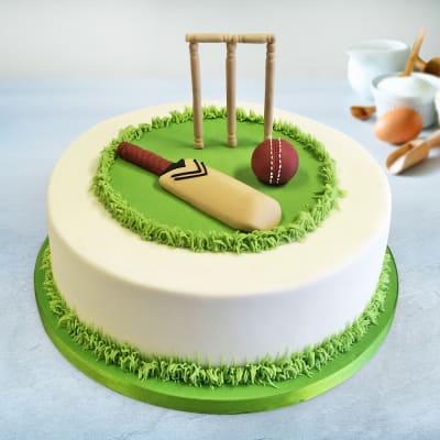 Cricket Field Semi Fondant Birthday Cake (2 Kg)