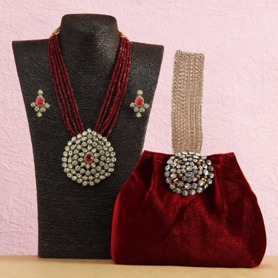 Crystal Embossed Work Velvet Purse with Ethnic Kundan and Semi Pricious Necklace Set