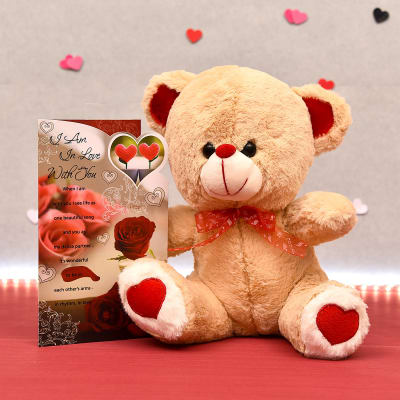 Cuddly Teddy Bear with Romantic Greeting Card: Gift/Send Toys and Games  Gifts Online L11111071 |IGP.com