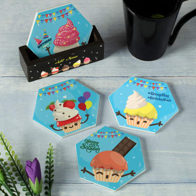 Cupcakes Themed Personalized Birthday Coaster Set