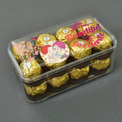 Customized Beautiful Love Story Box of 16 Pc. Ferrero Rocher