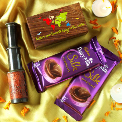 Customized Telescope in Wooden Box with Dairy Milk Silk Chocolates