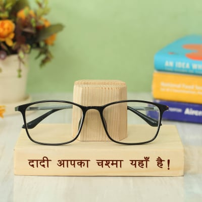 Customized Wooden Eyeglasses Stand for Grandmother
