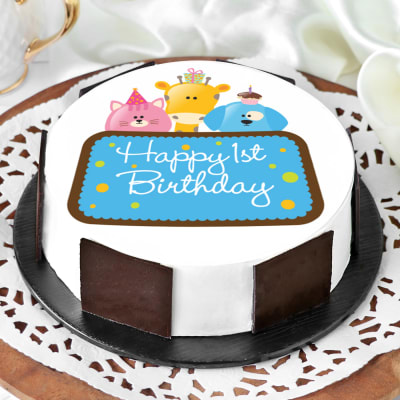 Cool Order Cute Animals First Birthday Cake For Boy Half Kg Online At Funny Birthday Cards Online Elaedamsfinfo