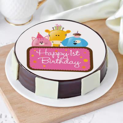 Cute Animals First Birthday Cake for Girls (Half Kg)