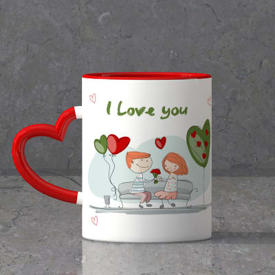 Romantic birthday gifts for husbandwife boyfriendgirlfriend cute couple personalized heart handle mug negle Images