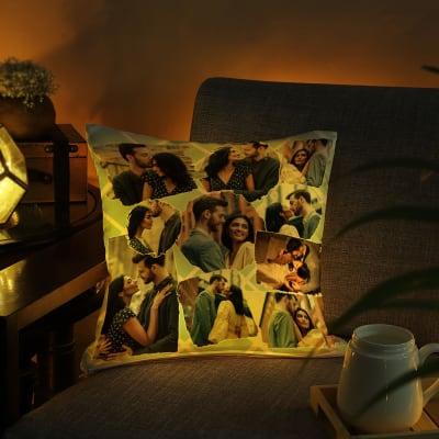 Cute Couple Personalized LED Satin Cushion