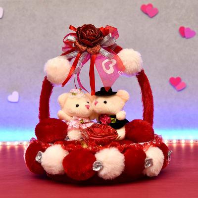 Cute CoupleTeddies in Soft Fur Love Basket