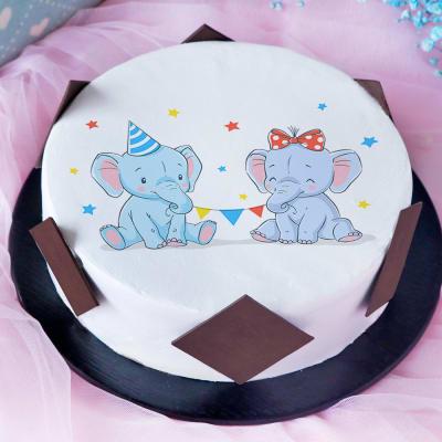 Cute Elephants Baby Shower Poster Cake (Half Kg)