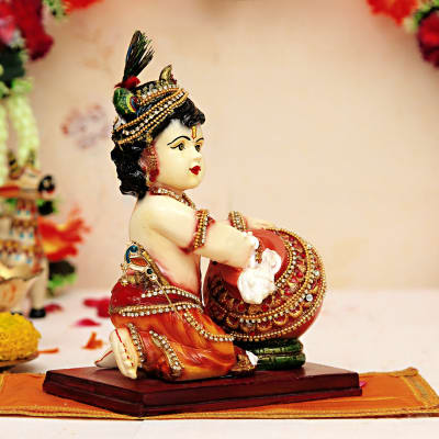 cute lord krishna with matki idol gift send home and living gifts