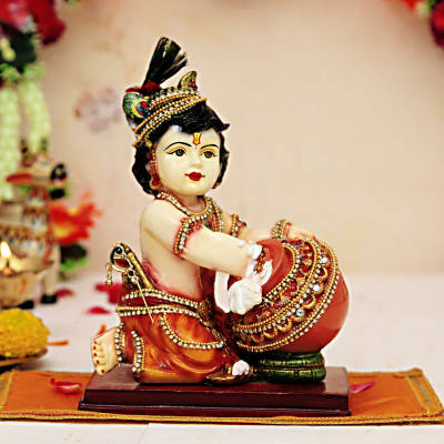 Cute Lord Krishna with Matki Idol: Gift/Send Home and Living Gifts  Online(CC1041581) | IGP com