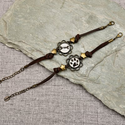 Cute Paw Bone Couple Bracelet Set