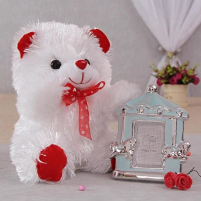 Cute Photo Frame & Teddy Bear Hamper: Gift/Send Home and Living ...