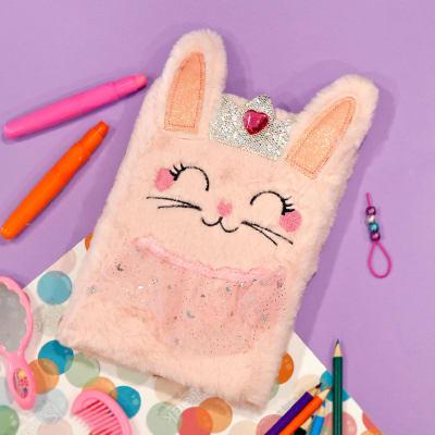 Cute Pink Rabbit Plush Notebook