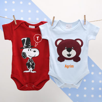 Personalized baby shower gifts online send personalized gifts to cute set of two personalized baby onesies negle Image collections