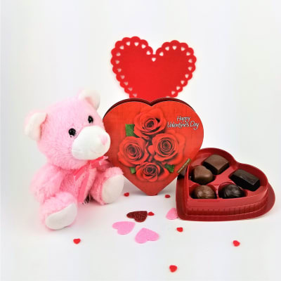 Cute Teddy with Assorted Chocolates in Heart Shaped Box
