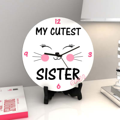 Cutest Sister Ever Round Clock With Wooden Stand