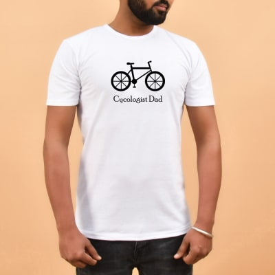 Cycologist Dad White Cotton T Shirt For Dad