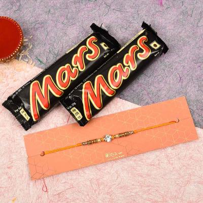 Cz Stone Rakhi with Mars Chocolate (2 Pcs)