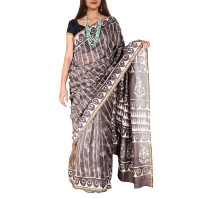 Dabu Print Cotton Chanderi Saree with Zari Border