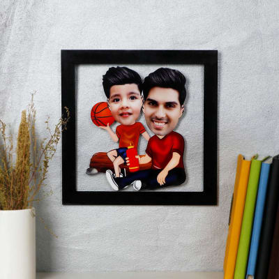 Dad And Son Personalized Caricature Photo Frame