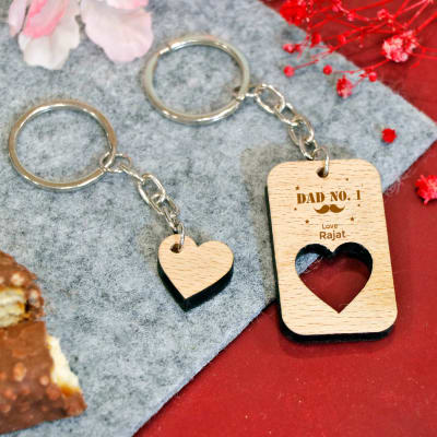 Dad No. 1 Personalized Wooden Heart & Cutout Keychain Set