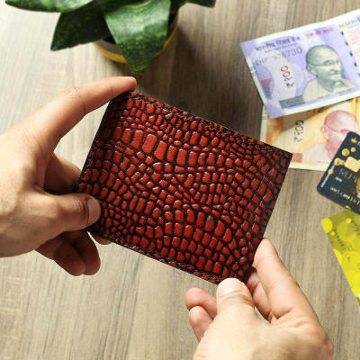 Dark Brown Croc Embossed Men's Leather Wallet