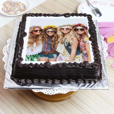 Dark Chocolate Personalised Photo Cake (1 Kg)