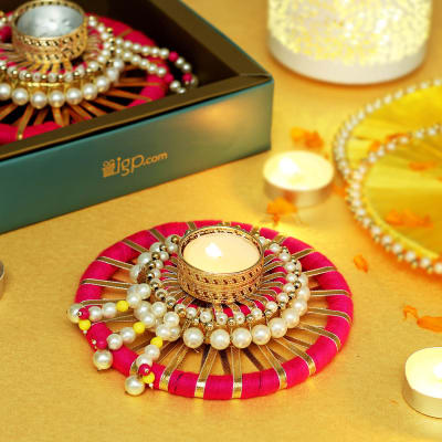 Decorative Candle Diya with Pearl & Gota Work