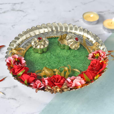 Decorative LED Puja Thali with Floral Work