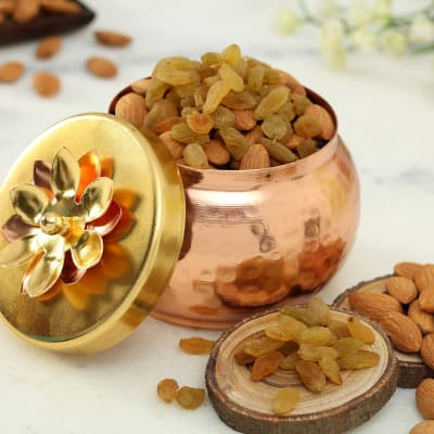 Decorative Metal Container with Dry Fruits