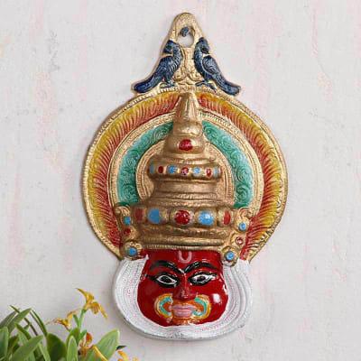 Decorative Metal Kathakali Mask Wall Mount 7 Inch