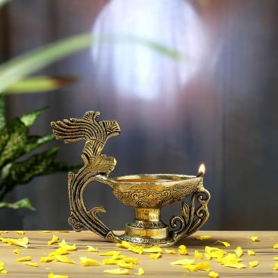 Decorative Oxidized Brass Diya