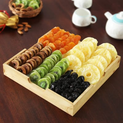 Delicious Dried Fruits Hamper In A Wooden Tray